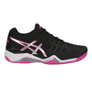 Asics Gel-Resolution 7 Clay black silver hotpink - Racketshop de Bataaf