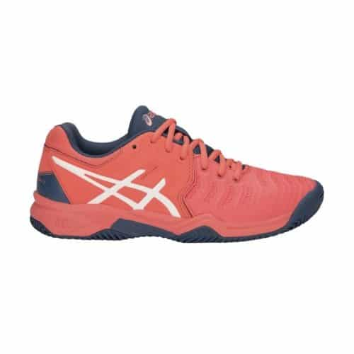 Asics Gel-Resolution 7 Clay GS papaya white - Racketshop de Bataaf
